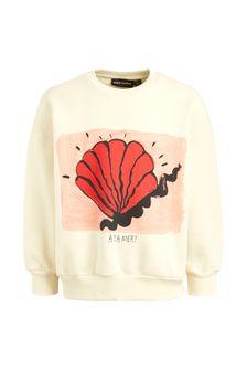 Girls Ivory Organic Cotton Shell Sweater