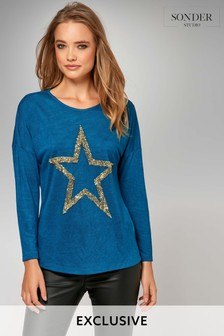 Sonder Teal 3/4 Star Slub Sequin T-Shirt