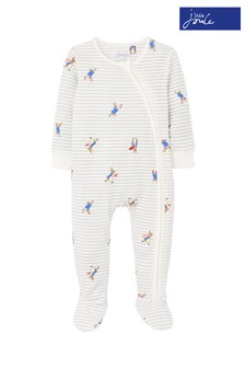 Joules Grey Peter Rabbit Zippy Organically Grown Cotton Zip Sleepsuit