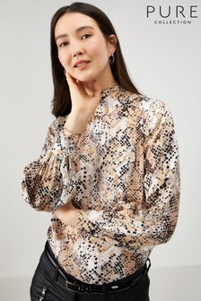 Pure Collection Animal High Neck Blouse