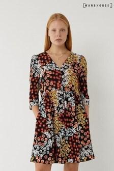Warehouse Black Mixed Daisy Button Mini Dress