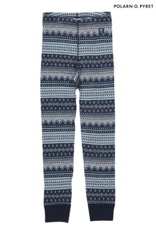 Polarn O. Pyret Blue Patterned Soft Merino Long Johns