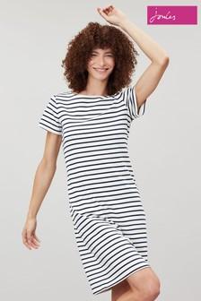 Joules Cream Riviera Long Short Sleeve Jersey Dress
