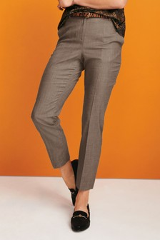 Sharkskin Texture Slim Trousers
