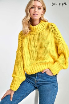 Free People Yellow Cable Knit Jumper