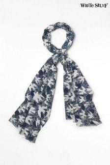 White Stuff Blue Migrating Bird Cotton Scarf