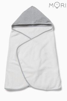 MORI White Hooded Toddler Bath Towel