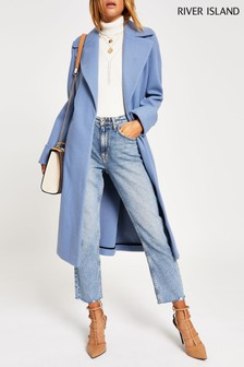 River Island L Blue Adriana Wool Coat