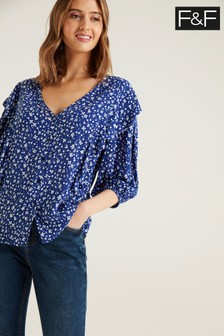 F&F Alice Ruffle Navy Blouse