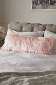 Pink Arctic Cosy Faux Fur Lumbar Cushion