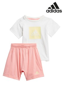 adidas Infant White/Pink T-Shirt And Short Set