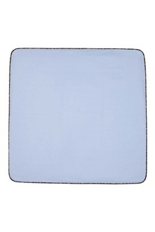 Baby Boys Blue Cotton Logo Blanket
