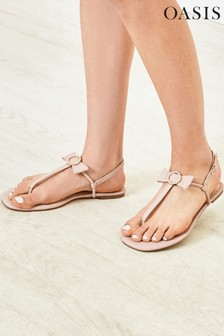 Oasis Natural Bow Toe Post Sandals