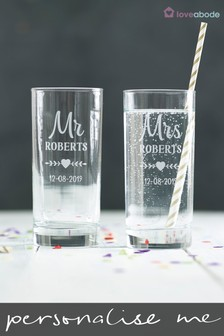 Personalised Mr and Mrs High Ball Glasses by Loveabode
