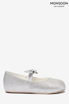 Monsoon Silver Baby Everly Shimmer Booties