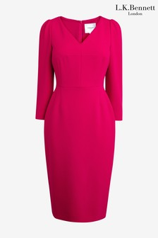 L.K. Bennett Pink Mai V-Neck Ruched Sleeve Dress