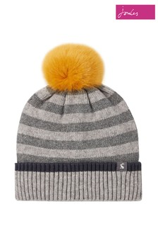 Joules Grey Chillaway Hat Knitted Beanie With Pom