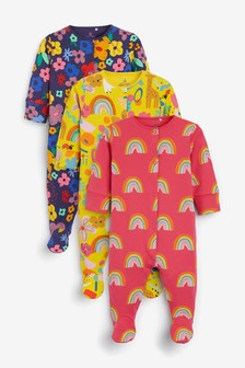 3 Pack Rainbow Floral Sleepsuits (0mths-2yrs)