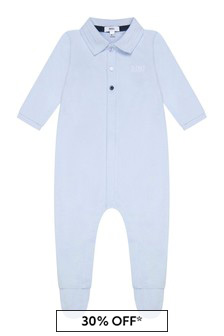 Boss Kidswear Baby Boys Blue Cotton Babygrow
