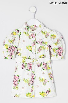 River Island White Floral Broderie Shirt Dress