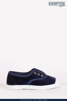 Trotters London Navy Plum Velvet Shoes