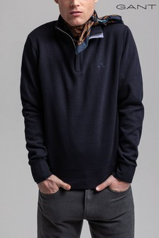 GANT Blue Sacker Rib Half Zip Top