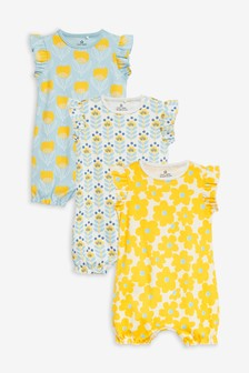 3 Pack Retro Floral Rompers (0mths-3yrs)