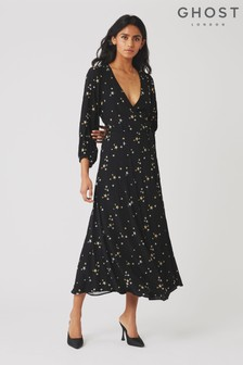 Ghost London Black Emilie Embroidered Star Dress