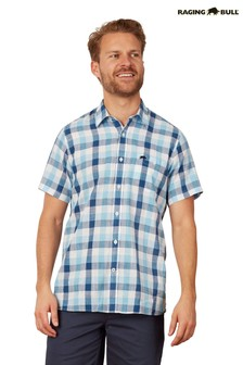 Raging Bull Blue Short Sleeve Oversize Gingham Shirt
