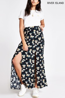 River Island Black Ditsy Front Split Maxi Skirt
