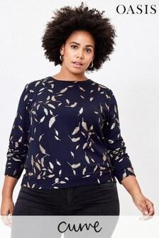 Oasis Blue Curve Felix Foil Animal Sweater