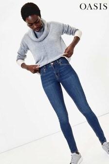 Oasis Blue Jade Mid Rise Skinny Jeans
