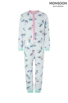 Monsoon Ivory Unicorn Jersey Sleepsuit