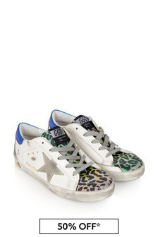 Kids White & Leopard Print Leather Superstar Trainers