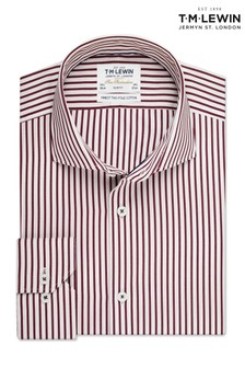 T.M. Lewin Burgundy Stripe Slim Fit Double Cuff Shirt