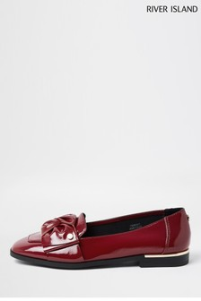 River Island Dark Red Bow Loafers