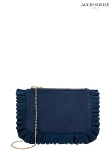 Accessorize Blue Ella Pleated Clutch Bag