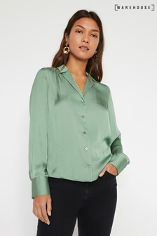 Warehouse Green Satin Lapel Shirt