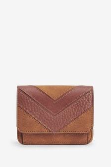Splice Detail Leather Look Purse