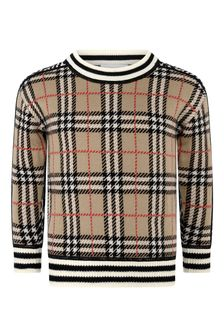 Boys Beige Check & Leopard Wool Jumper