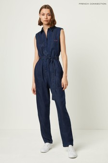 French Connection Blue Maggia Light Sleeveless Jumpsuit