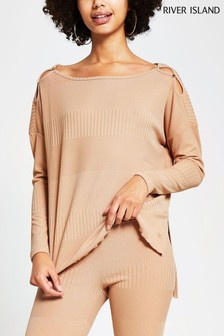 River Island Long Sleeve Keyhole Detail Top