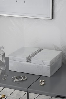 Marble & Diamanté Effect Jewellery Box