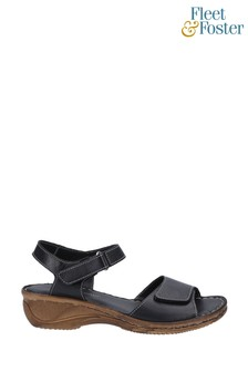 Fleet & Foster Black Linden Touch Fastening Sandals