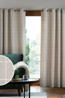 Windowpane Check Eyelet Lined Curtains
