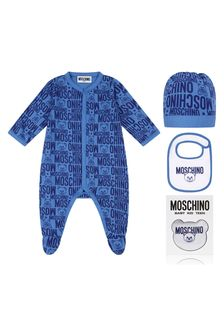 Moschino Kids Baby Boys Blue Cotton Babygrow Gift Set