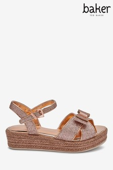 Baker by Ted Baker Rose Gold Glitter Bow Flatform Sandals