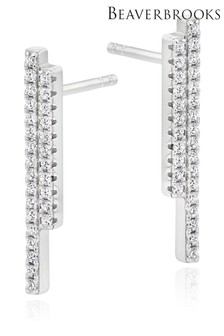 Beaverbrooks Sterling Silver Cubic Zirconia Double Bar Stud Earrings