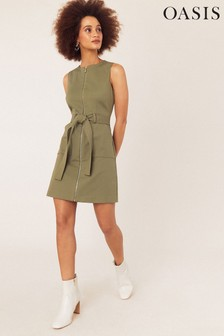 Oasis Green Utility Shift Dress