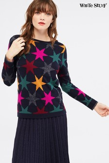 White Stuff Blue Gridlock Star Jumper